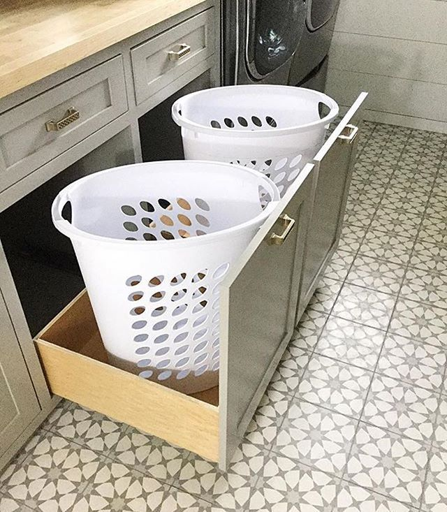 The weekend is probably laundry time. Wouldn't it be nicer if you got do do it here? We love the pullout baskets and of course the in stock Atlas pattern! #Repost @i_heart_home_design ・・・ So remember having my pull out hampers were a must have in the new house well I got them I have to have my dirty clothes hidden because I always have a huge pile of clothes it's so nice not having it all on display. #cementtileshop #cementtile #farmhousehappy #makehomeyours #cementtiles #concretetiles ...