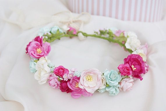 flower crown pink floral crown pink flowers mint by mamwene