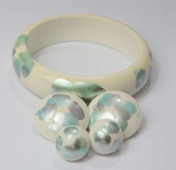 Handpainted Bead Necklace, Bracelet and 2 Earrings Set by GenusJewels on Etsy