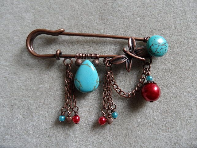 Copper and turquoise dragonfly kilt pin £6.50