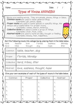 Nouns Worksheet With Answers Common, Proper, Collective \u0026 Abstract First Grade Noun Worksheets Nouns Worksheet With Answers Common, Proper, Collective