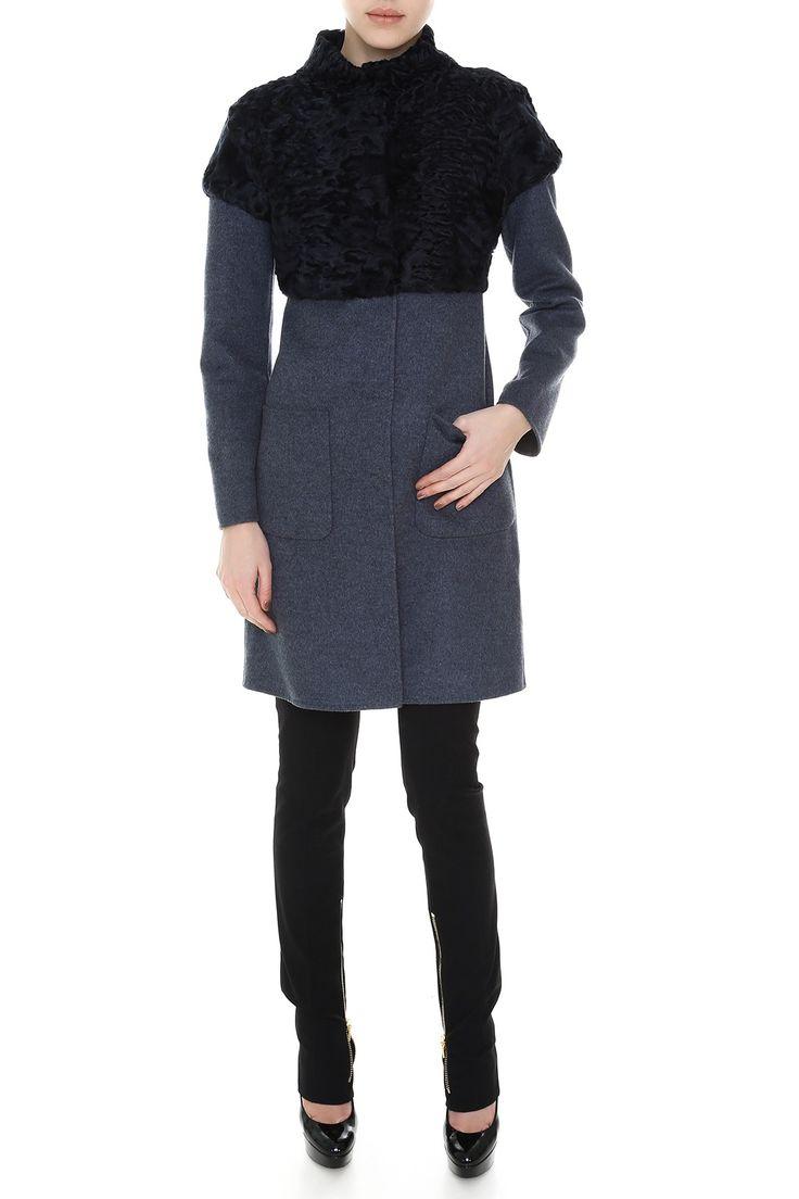 Комбинированное пальто с карманами, ворот стойкой. Материал: Кашемир, натуральный мех свакара http://oneclub.ua/pal-to-44231.html#product_option23