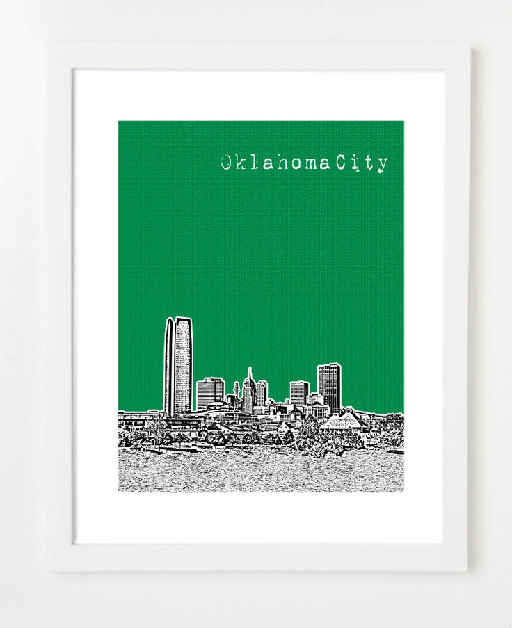 Oklahoma City Art  - Skyline Print 8x10 Poster - University of Oklahoma Sooners - VERSION 2. $20.00, via Etsy.