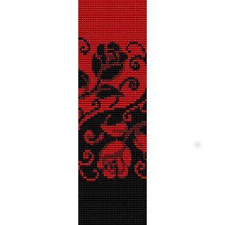 Instant Télécharger perlant modèle Peyote Stitch Bracelet Yin Yang Roses graine perle brassard