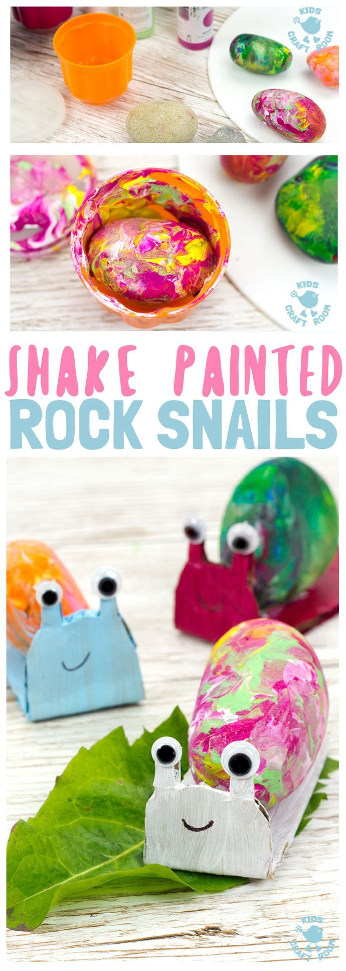 SHAKE PAINTING - CUTE SNAIL ROCK CRAFT- This rock painting idea gets kids active and is virtually mess free! With this cute Snail Craft kids shake out their wiggles and fidgets and create beautifully painted rocks that make perfect snail shells! Grab your