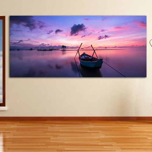 Sunset boat πανοραμικός πίνακας σε καμβά
