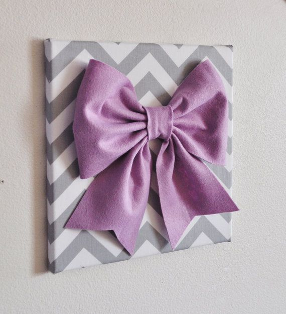 Baby Nursery Wall Decor Large Lilac Bow on Gray and by bedbuggs. , via Etsy.