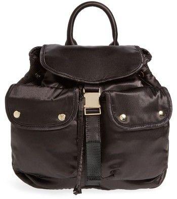 Steve Madden Small Satin Backpack - Black