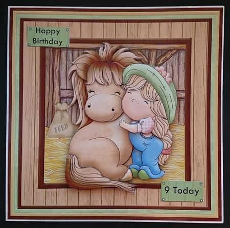 IZZY S PONY LOVE 8x8 Decoupage Mini Kit on Craftsuprint designed by Janet Briggs - made by Sue Soules