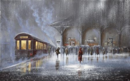Image result for a train in romantic painting