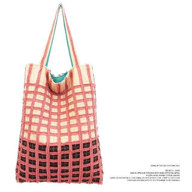 KAMI - BG 002 KI SAND Checks applique tote bag with hand stitching detail in 100% hand woven cotton canvas . Chocolate Brown/ Apricot Ice/ Withered Rose/ Emerald . Available in large (50 cm x 40 cm x 5 cm) & small (39 cm x 32 cm x 3 cm) . #checksapplique #totebag #sand #livingbythesea #autumn2015 #kamithelabel #localbrandid