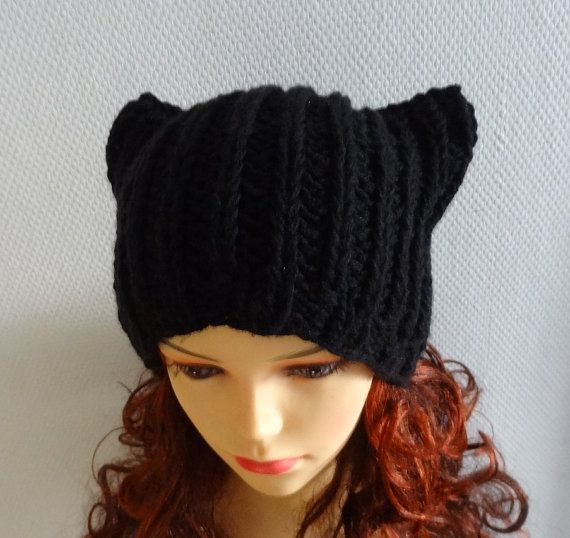 BLACK pussyhat Cat Ears Hat Cat Beanie Chunky Knit by Ifonka