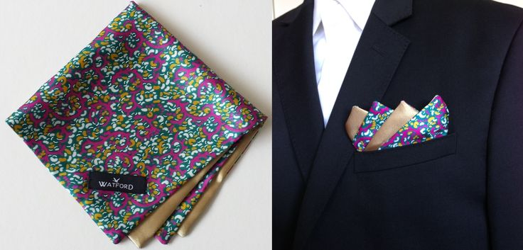 Polyester Silk with Gold lining - Pocket Square (Double-sided)