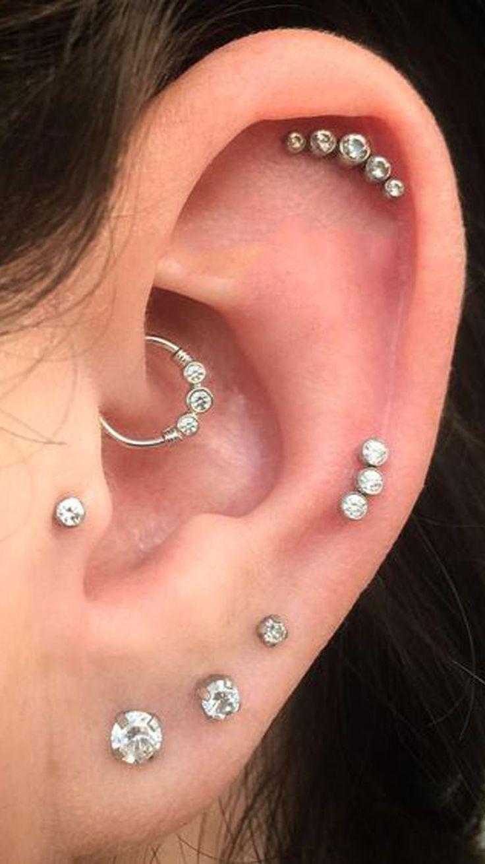 Süße dreifache Kristall Daith Ohrring Hoop Ohr Piercing Schmuck Ideen für Frauen  – Piercing Jewelry