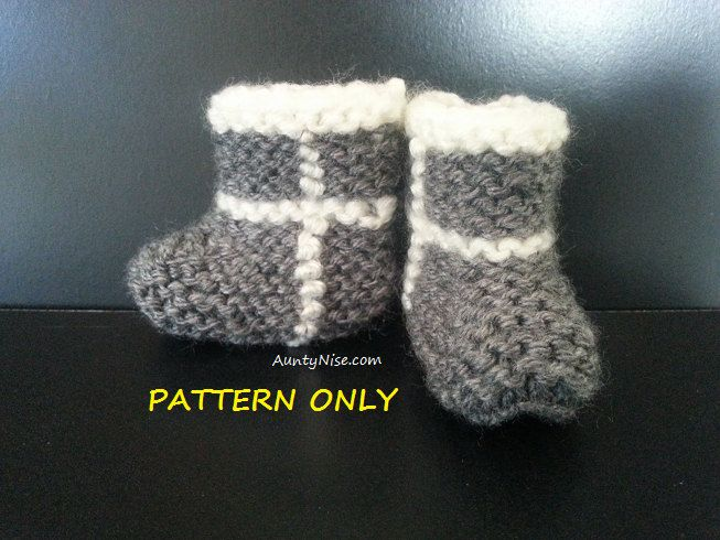 Ugg Booties [PATTERN ONLY] Knitted   Premie, Newborn, 3-6months, 1yr, 2yr sizes by AuntyNiseCrafts on Etsy