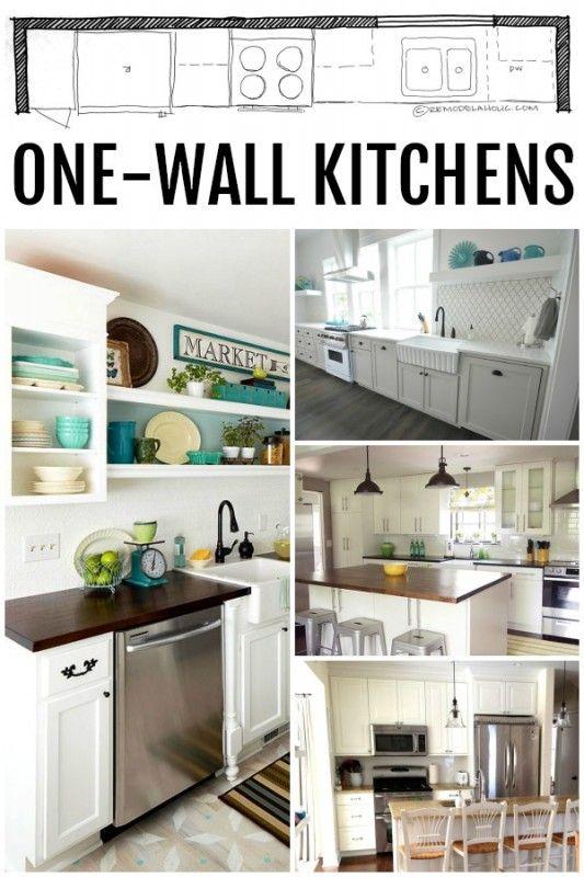 KITCHEN DESIGN | Single Wall Kitchen Layouts via Remodelaholic.com #kitchen #design #remodeling