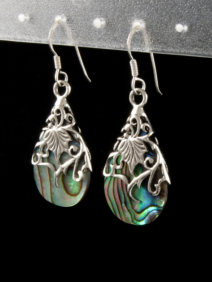 Silver earrings decorated with shell  Stříbrné náušnice 925 punc, perlet' (Abalone), kapka. 47-473-1435