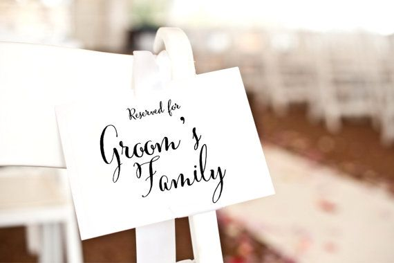 Reserved for Groom's Family Sign reserved card wedding