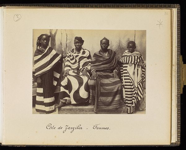 Women from Zanzibar, plate 56 / Edouard Foa Women from Zanzibar, 1893, Edouard Foà. Albumen print in Views of Africa: Zanzibar et Côte-Quiloa-Dar es Salam-Tanga-Somalis, plate 56. Mount: 9 x 11 1/4 in. The Getty Research Institute, 93.R.114.1.4