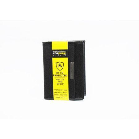 George Men's Cordura Nylon/leather trim Radio-frequency identification (Rfid) protect Trifold Wallet, Black