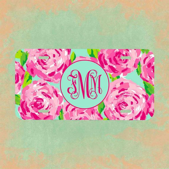 Monogrammed Lilly Pulitzer license plate by fmmmonograms on Etsy.