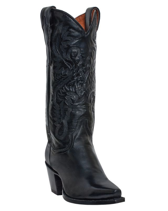 "Dan Post Womens Black Mignon Leather Maria 13"""" Snip Toe Cowboy Boots"