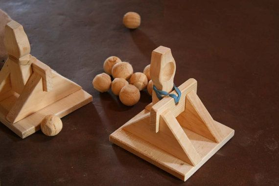 Toy Catapult Launchers Wooden Game by FunnyFarmToyBarn on Etsy, $16.50