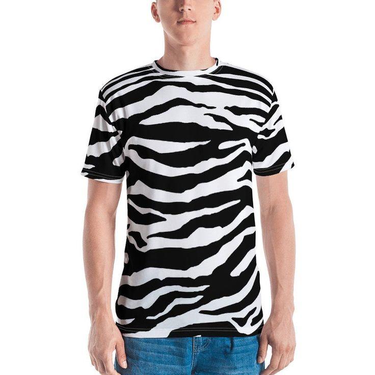 Zebra Print Mens Punk Shirt Rockabilly Shirt Kawaii Shirt 80s Clothing Street Wear Rave Wear Rave Outfit Harajuku Shirt Kawaii Clothing