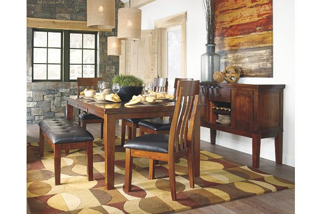 Strumfeld warm brown dining table with upholstered seating ...