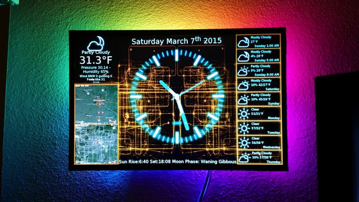 PiClock: an all in one clock, weather forecast and radar map on an LED monitor with cool LED mood lights.