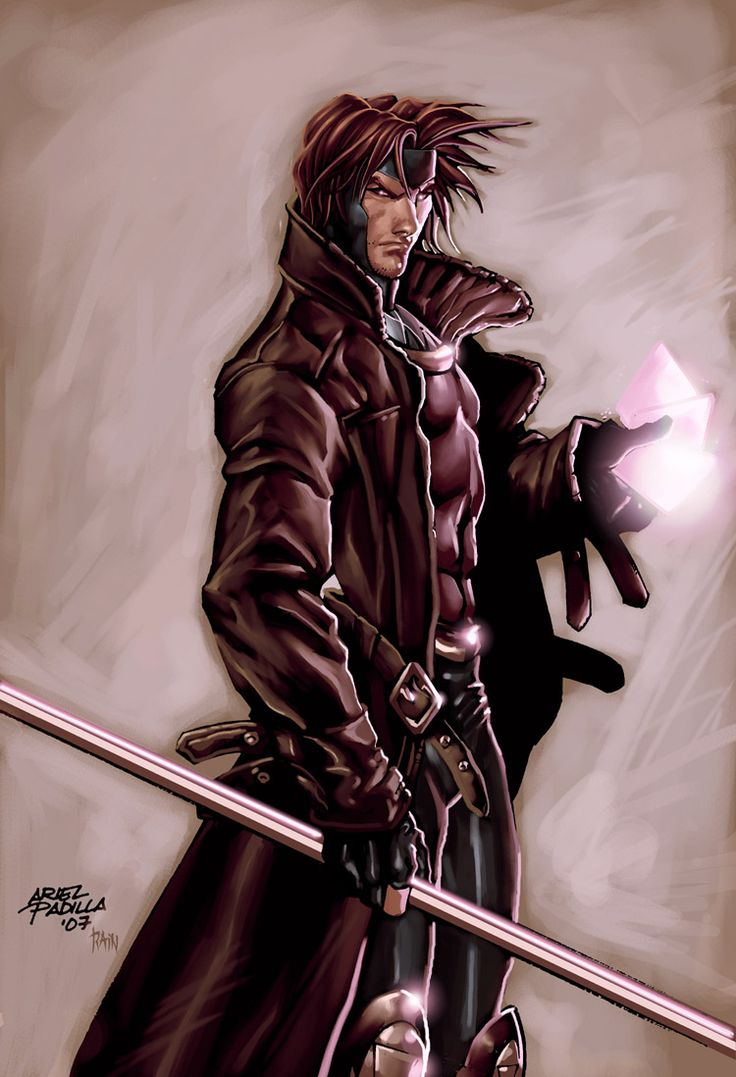 Remy Lebeau- Code name:Gambit-Mutant Abillities: Manipulation of potential energy and kinetic energy, enhanced physical abilities, Hypnotic Charm.