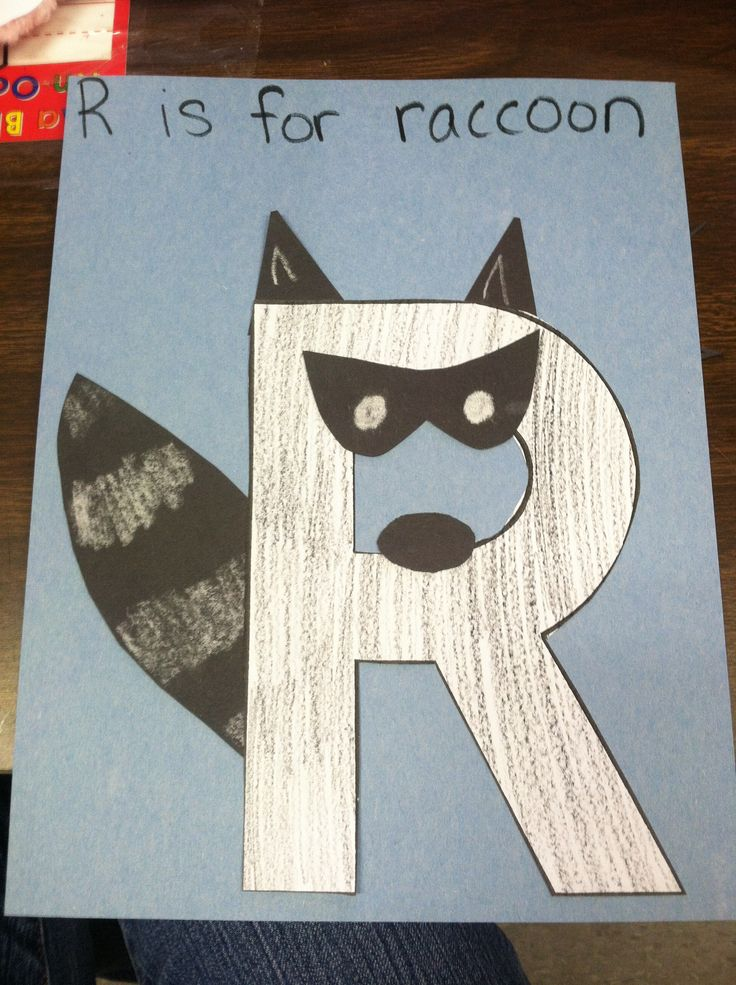 Alphabet Letter R is for raccoon. Chalk stripes and features on black construction paper.