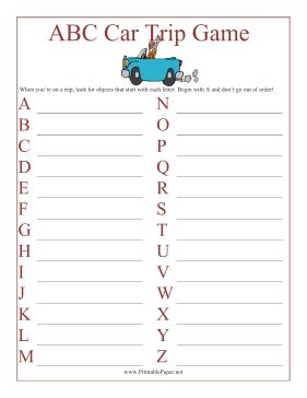 Families on long car trips can use this printable ABC car trip game to find roadside objects that start with each letter in the alphabet. Free to download and print