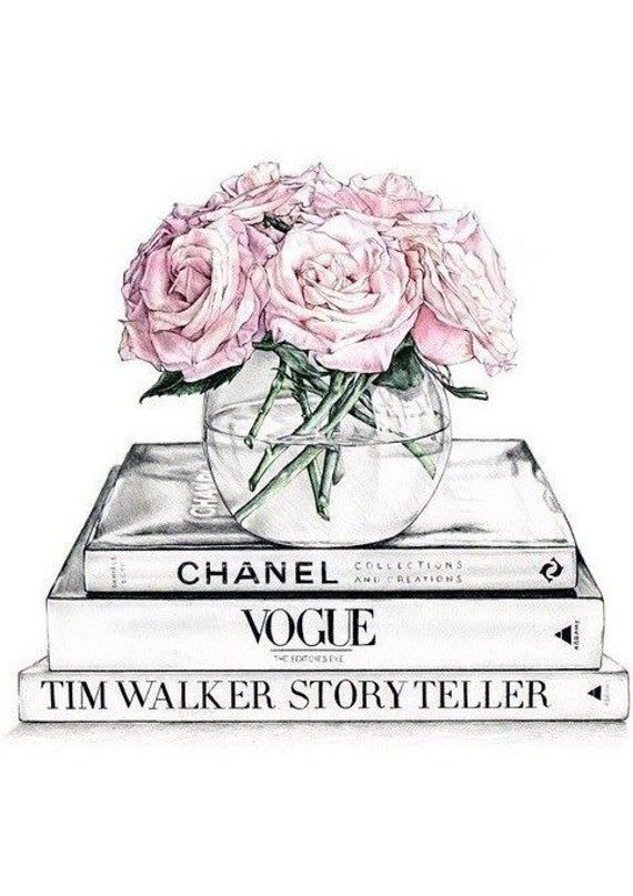 Designer art print home decor logo black /& pink beauty fashion vogue illustratio