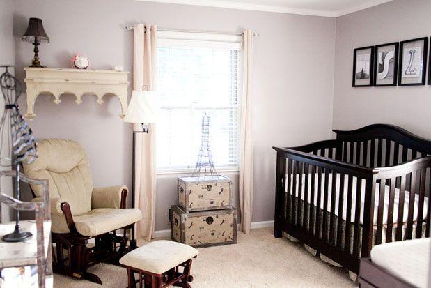 GreyLikesBaby Parisian Nursery - love the wall color with dark wood