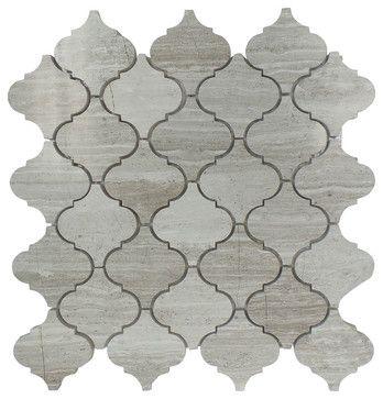 "Fireplace....Arabesque Marble Mosaic Tile 12.50"" X 12.50"", Wooden Grey, Sample mediterranean-mosaic-tile"