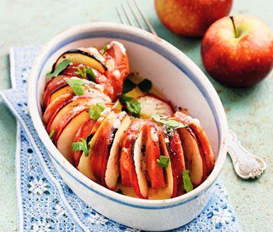 Recept: Gratinerad äppel- och ostfalu