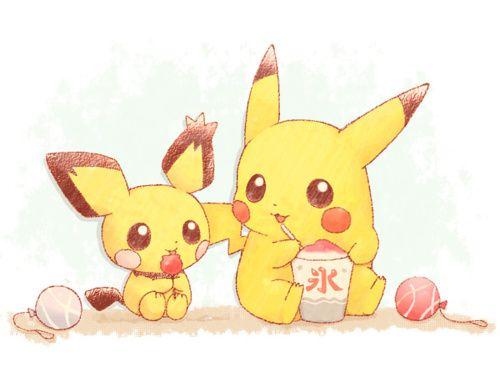 kawaii pokemon | Kawaii Spiky-Eared Pichu and Pikachu