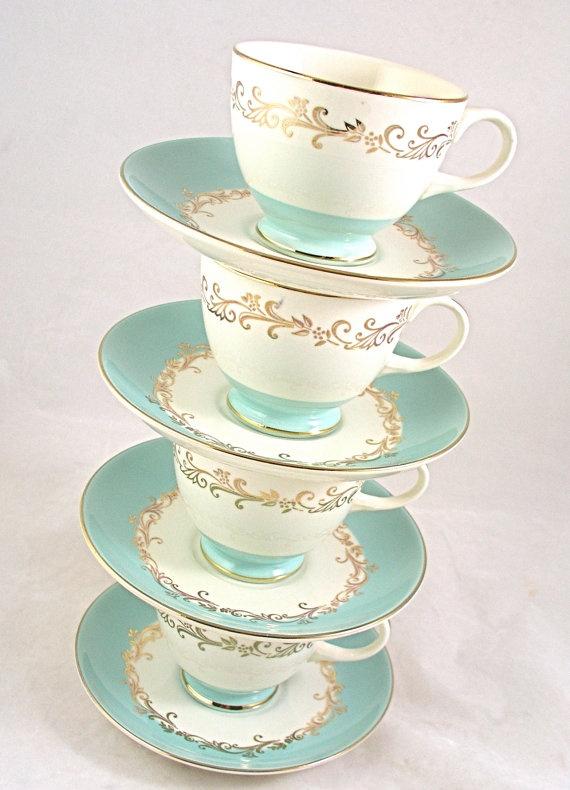 Homer Laughlin Lifetime China CROWN GOLD 4 Tea Cups by MaraGahans