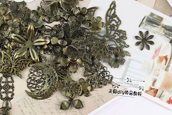 Амано DIY ювелирных бронзовых случайных металлических предметов, смешанные модели Мотив пакет 16 юаней 80 шпилька материальную Призрак цену! ...