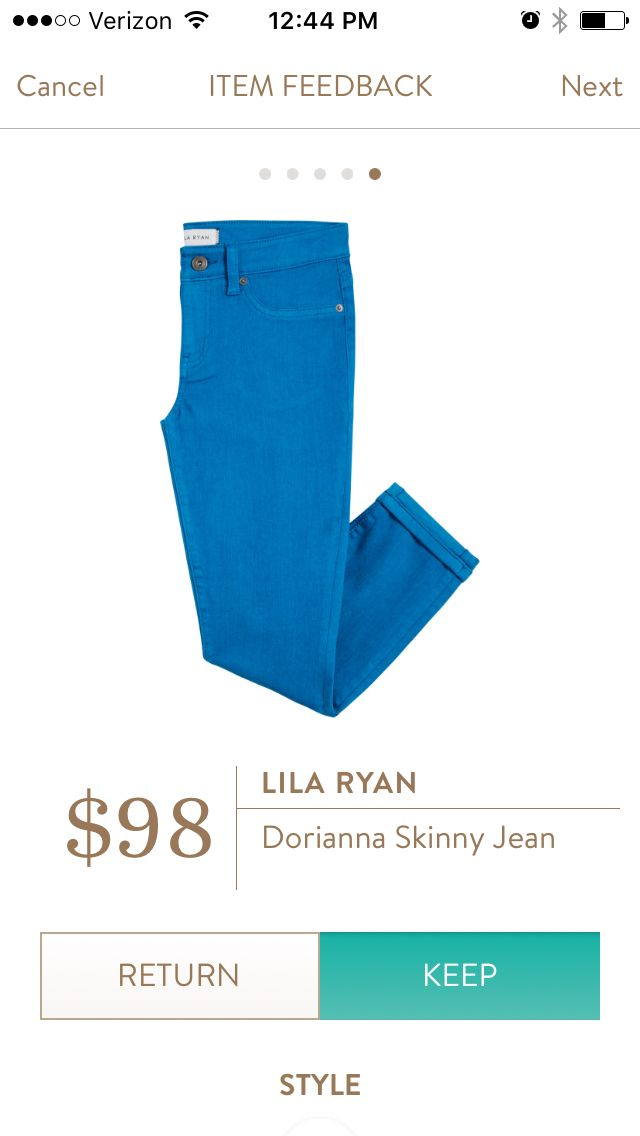 12th Fix! Lila Ryan Dorianna Skinny Jean in Cobalt. Loved the color. The length was a perfect crop. The material was just too thin for this curvy lady! RETURNED.