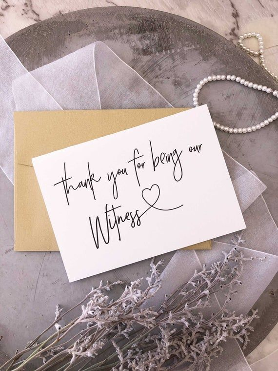 Witness Wedding Day Card Bridal Party