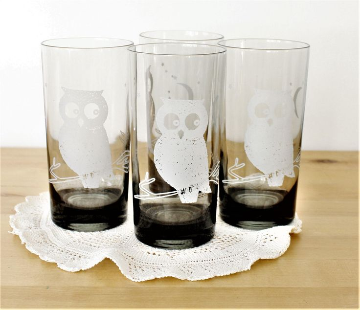 Vintage Set of 4 Owl Tumblers, Owl Motif Drinking Glasses, Smoked Glass Night Owl Tumblers, Owl Cocktail Glasses, Grey + White Owl Glasses by TheRoughGem on Etsy