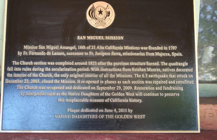 Mission history plaque for Old San Miguel Arcangel Mission, San Miguel, Ca.