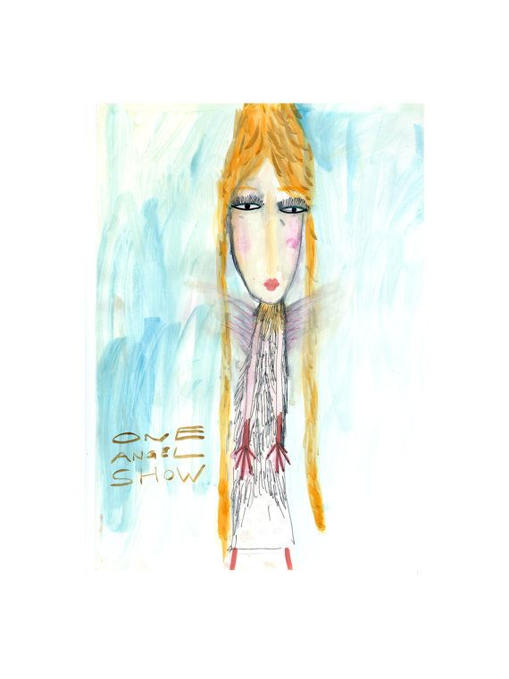 Whimsical angel drawing One angel show watercolor by TalStoobik