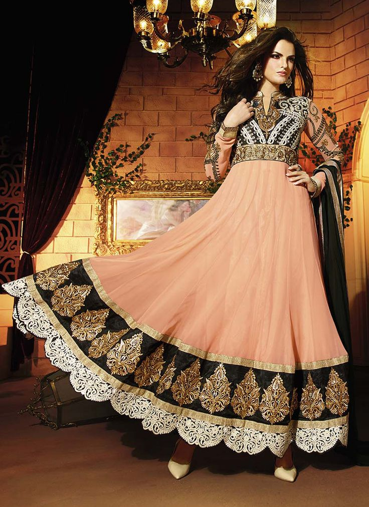 Peach Georgette Embroidered designer suit for party