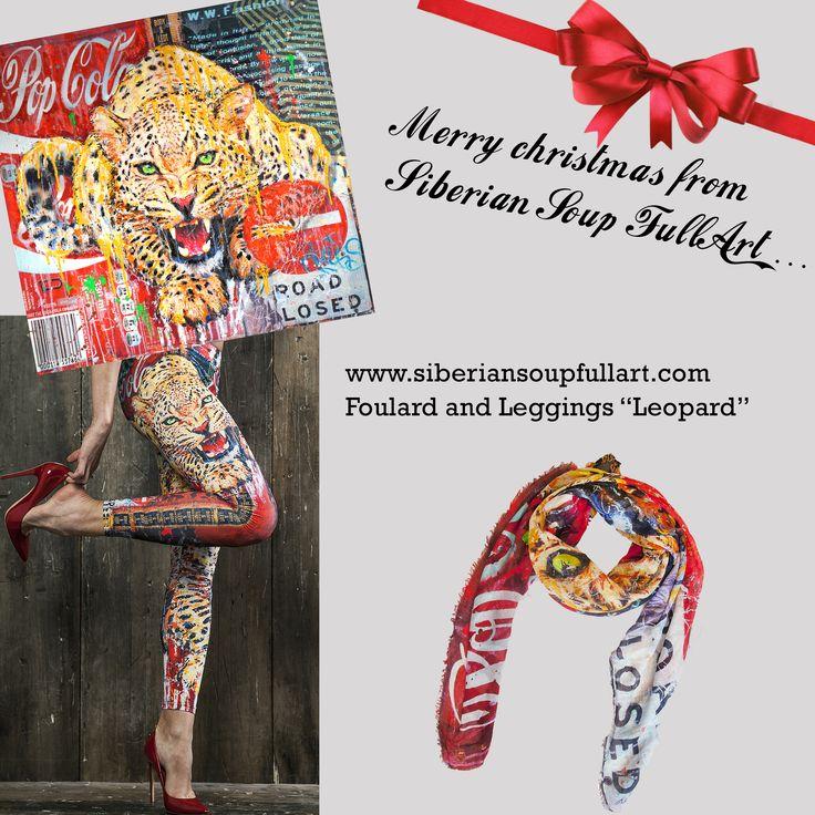 "Christmas Shopping with Siberian Soup FullArt, foulard and leggings ""LEOPARD"""