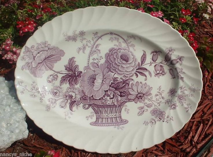 Lavender Purple Transferware Victorian Platter Basket of Roses Charlot