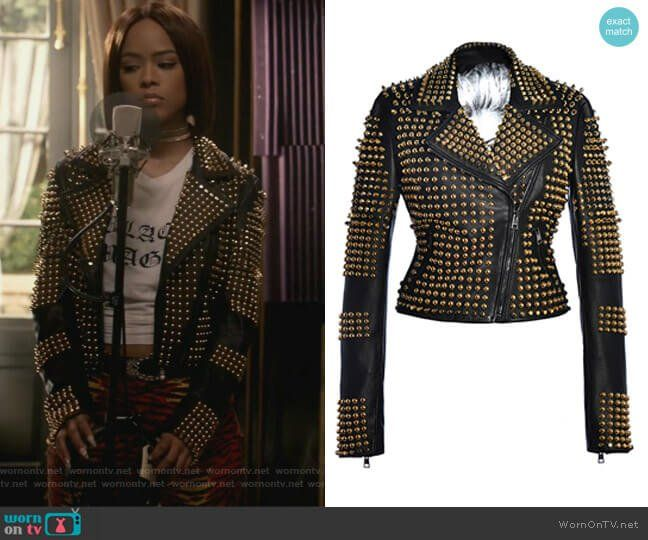 f48ec0c4137 Tiana s studded jacket and red tiger print pants on Empire. Outfit Details   https