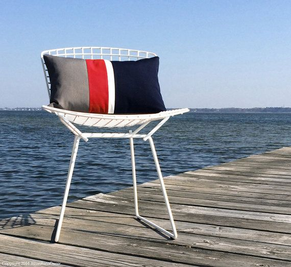OUTDOOR Colorblock Pillow Cover (Custom Colors) by JillianReneDecor - Gray, Red, White & Navy